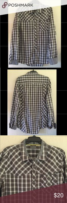 JC RAGS Washed Black Western Plaid Shirt, L This button down is in great condition. It was rarely worn by my son.  It's fits true to size but more of an athletic fit than a classic fit. JC Rags Shirts Casual Button Down Shirts