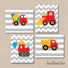 Construction Wall Art,Trucks Kids Wall Art,Construction Nursery Wall Art,Dump Truck Excavator Mixer Wall Art- Construction Wall ArtTrucks Kids Wall by SweetBloomsDecor on Etsy