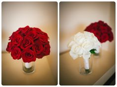 Red and white bouqets. Red roses for the bride and white roses for the bridesmaids.