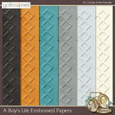A Boy's Life Digital Scrapbook Embossed Papers. $3.90 at Gotta Pixel. www.gottapixel.net/