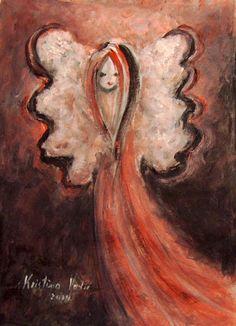 Angel Painting on Paper, Original Painting, Guardian Angel, Angel Art, Spiritual Painting, Gift Idea