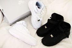 Nike Air Force 1s #white #black #high tops