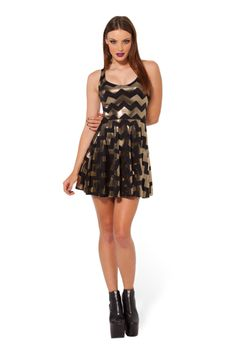 Zig Zag Gold Reversible Skater Dress - LIMITED › Black Milk Clothing