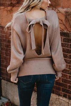 c4fdcbbfb5 Back Bow Knot Knitted Pullover Sweater Top  sweater Fall Sweaters