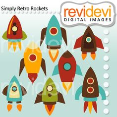 Simply Retro Rockets - blast off with rocket clipart for crafts, card making and more.