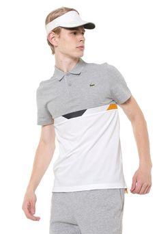 d6d5b1dfcfe Camisa Polo Lacoste Reta Recortes Cinza Branca