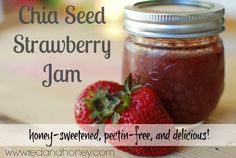 Instant Pot Strawberry Chia Seed Jam (Honey-Sweetened) - Red and Honey Jam Recipes, Canning Recipes, Whole Food Recipes, Homemade Strawberry Jam, Strawberry Jam Recipe, Brunch, Chia Seeds, Yummy Food, Healthy Food