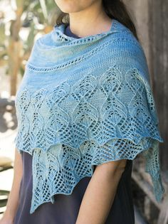 Inspired by a crisp autumn morning, this gorgeous airy shawl is a wardrobe must! Knit with 800 yds fingering-weight yarn at a gauge of 20 sts and 32 rows per using U. Finished size: wingspan x 18 deep. The lace pattern is charted only. Poncho Knitting Patterns, Shawl Patterns, Lace Knitting, Crocheting Patterns, Knitting Help, Wrap Pattern, Knit Vest, Knitted Shawls, Knit Or Crochet