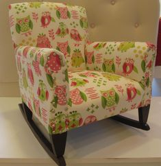 BOARD COVER. One of a kind, Vintage children's rocking chair reupholstered in very cool owls.