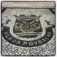 Sidewalk, Pavement Portuguese (Calçada Portuguesa) -  Coat. Symbol of the council of Vila da Povoação. (Brasão. Simbolo do concelho da Vila da Povoação, São Miguel Island. Photo by José Alberto Lima. @jallima- #webstagram
