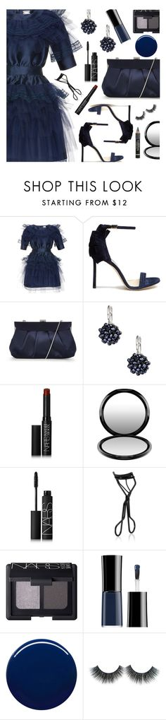 """""""Navy Dress"""" by deborah-calton ❤ liked on Polyvore featuring Alexis Mabille, Jimmy Choo, Phase Eight, Saachi, NARS Cosmetics, MAC Cosmetics, Giorgio Armani, Nails Inc. and L'Oréal Paris"""