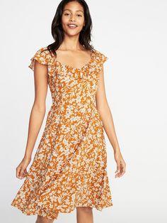 Fit & Flare Ruffle-Trim Cami Dress for Women Fit Flare Dress, Fit And Flare, Canary Yellow Dress, Ruffle Trim, Ruffles, Ladies Dress Design, Buy Dress, Swing Dress, Short Sleeve Dresses