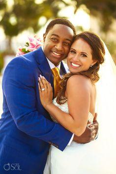 Multi Cutural bride and groom, Formal portrait.  Destination Wedding Excellence Riviera Cancun - Sarai and Lamar