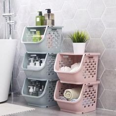 Janse Stackable Storage Baskets is part of Bathroom organization Stack and organize your kitchen, office space, bathroom, or kids toys with these super convenient storage baskets! Dorm Room Organization, Bathroom Organisation, Bathroom Storage, Medicine Organization, Bathroom Wall, Bathroom Ideas, Bathroom Baskets, Dorm Room Storage, Closet Storage