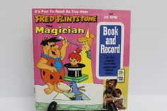 FRED FLINTSTONE the Magician Vintage Vinyl 45 Record and Storybook Vintage collectible record gift for child retro collectible record