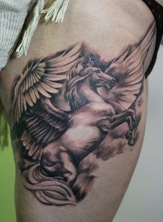 tattoo, pegasus tattoo, relistic tattoo, black and grey, horse, wings, imagination, leg tattoo