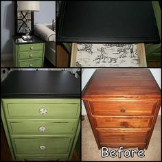 i want to redo my bed room furniture, but I am scared it would turn out. Not green though Furniture Fix, Chalk Paint Furniture, Refurbished Furniture, Repurposed Furniture, Furniture Makeover, Furniture Ideas, End Table Makeover, Bath Design, Juices