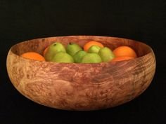 Extra Large Wood Fruit Bowl: Hand-turned maple burl wood. All Natural, Organic, Eco Friendly Home Decor