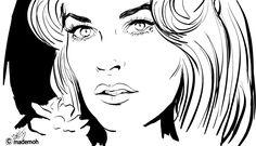 dessin de visage  | croquis noir et blanc visage belle femme. Auteur mademoh : https ...