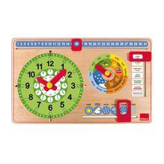 Une horloge en bois pour apprendre à se repérer dans le temps. L'enfant commence par suivre la météo et les saisons. Puis son apprentissage s'affine, il repère les mois, les jours, la date et enfin l'heure. Il déplace lui-même les différents curseurs pour comprendre ces notions à son rythme. Créer un rituel quotidien devant ce calendrier rend ces apprentissages ludiques.