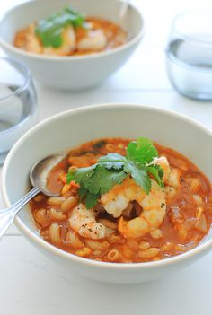 "BBQ Shrimp Minestrone ~ Pinner said, "" I can't beg you hard enough to make this."" It's that good! It's ludicrously simple to pull together. Roasted FROZEN corn, Seared shrimp, a BBQ flavored broth and just enough more to please any palette."