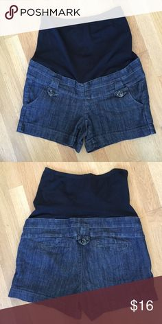 """FIRST KICK Blue Jean Full Panel Maternity Shorts FIRST KICK Blue Jean Full Panel Maternity Shorts.   Low rise with full panel.  Front and rear pockets.  Rise 6"""".   Inseam length 5"""".  Blue cotton/polyester/spandex blend Jean material.   Great condition. First Kick Shorts Jean Shorts"""