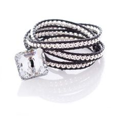 Wrap Bracelet: Sterling Silver Beads with Black Swavorski Crystal by Jonti Cameron. One of many stunning jewellery pieces on sale at the White Christmas Fair in Battersea, London.