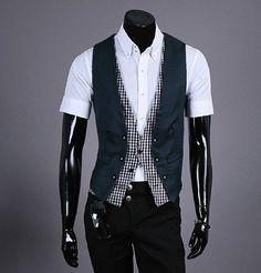 Free Shipping Fashion Men Vest plaid design false-two-piece waistcoat Top Slim vest for men 3 colors M-XL
