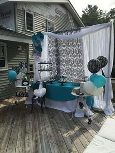 An elegant damask Bridal Shower dessert table. Love the backdrop! See more party ideas at CatchMyParty.com