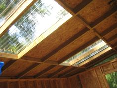 I made the skylights with plastic corrugated roofing panels. Lots of natural light.
