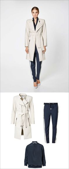 Women's Fashion Ideas - 12 Womens Outfits From Porsche Design's 2017 Spring/Summer Collection // This casual women's outfit, featuring a navy blouse and navy and white pants, has been dressed up with with a double breasted trench coat and pumps.