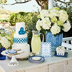 Punch Up the Porch | The Buffet | SouthernLiving.com Beautiful set-up by @Jennifer Milsaps L Milsaps L Carroll @ Celebrating Everyday Life, cake by @Ana G. Maranges Gupta  and Cookies by @Kelly Teske Goldsworthy Trout