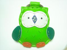 Fanny the Owl Leather Keychain ( Green )