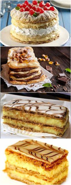 Mil folhas com creme de leite condensado; Veja Aqui >>> Corte a massa em três discos e coloque para assar no forno preaquecido a 200ºC até dourarem. Reserve. #receita#bolo#torta#doce#sobremesa#aniversario#pudim#mousse#pave#Cheesecake#chocolate#confeitaria