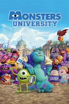 """Ever since college-bound Mike Wazowski (Billy Crystal) was a little monster, he's dreamed of becoming a Scarer--and he knows better than anyone that the best Scarers come from Monsters University (MU). But during his first semester at MU, Mike's plans are derailed when he crosses paths with hotshot James P. Sullivan, """"Sulley"""" (John Goodman), a natural-born Scarer. The pair's out-of-control competitive spirit gets them both kicked out of the University's elite Scare Program. (2013)"""