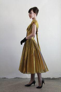 Vintage 50s Dress  Sharkskin Gown  Golden Taffeta  by VeraVague, $260.00