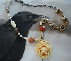 Ivory Rose and Rhinestones Necklace by Kim Rae Nugent,  RAEvN's Nest