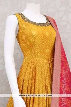 Trendy light Mustard Handwork Indian Outfit With Ikkat Design Indian Wedding Fashion, Indian Fashion, Designer Anarkali Dresses, Designer Dresses, Salwar Designs, Blouse Designs, Indian Dresses, Indian Outfits, Indian Designer Suits