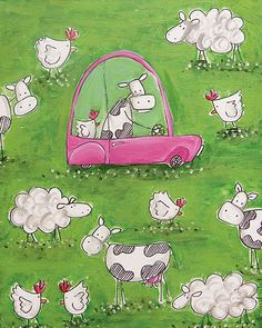 cow driving hot pink car... busy day by katiejardineART on Etsy