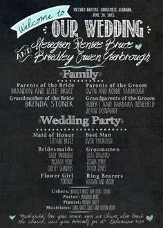 Chalkboard Wedding Program - can be made into an invitation #Chalkboard