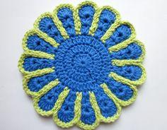 Crochet Pot Holder Flower Blue Green Hot by CoffeeCountyCrochet, $9.50