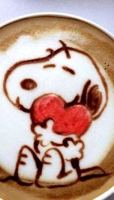 #Latte art :*¨¨*:Coffee♥Art:*¨¨*: snoopy #heart #coffee