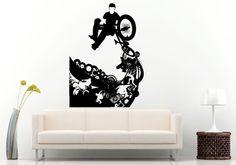Bmx Bike Bicycle Extreme Sport Games Stunt Trick Wheelie Skateboarder Skateboard Urban City Wall Decal Vinyl Sticker Mural Room Decor L874