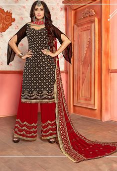 Buy Georgette Palazzo Pant Suit In Black Color Online - Salwar Kameez for Women from Andaaz Fashion at Best Prices. Style ID: Salwar Dress, Punjabi Dress, Salwar Kameez, Dress Indian Style, Indian Dresses, Saris, Designer Salwar Suits, Designer Dresses, Rose Colored Dress