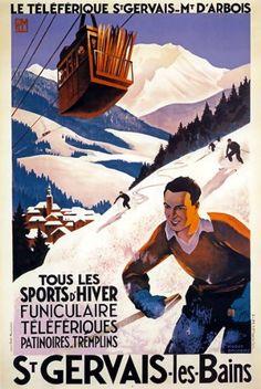 'Vintage Travel Poster France - St Gervais Les Bains' Poster by MarcFugazi Ski Vintage, Vintage Ski Posters, Vintage Art, Kunst Poster, A4 Poster, Poster Prints, Art Prints, Poster Wall, Framed Prints