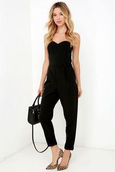 bdee770f4537 17 Best Black Strapless Jumpsuit images   Black strapless jumpsuit ...