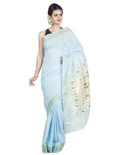Stunning powder blue handloom cotton paithani saree.  #handloom #ethnic #traditional #festival #sareeshopping