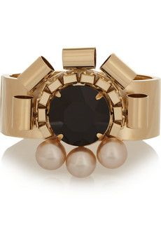 Mawi Gold-plated, Swarovski crystal and faux pearl cuff | THE OUTNET