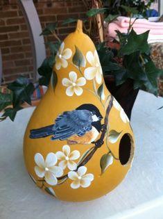 Yellow Chickadee & Flowers Gourd Birdhouse, hand painted USA, Kathy's Holiday, Ocean City, NJ