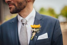 Sunflower Buttonhole Groom Rustic Summer Country Fayre Wedding http://candidandfrankphotography.com/